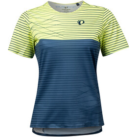 PEARL iZUMi Launch Top Manga Corta Mujer, sunny lime/dark denim frequency